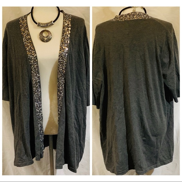 a0bf441af6 Apt. 9 Silver Sequin Long Gray Cardigan Women's 1X